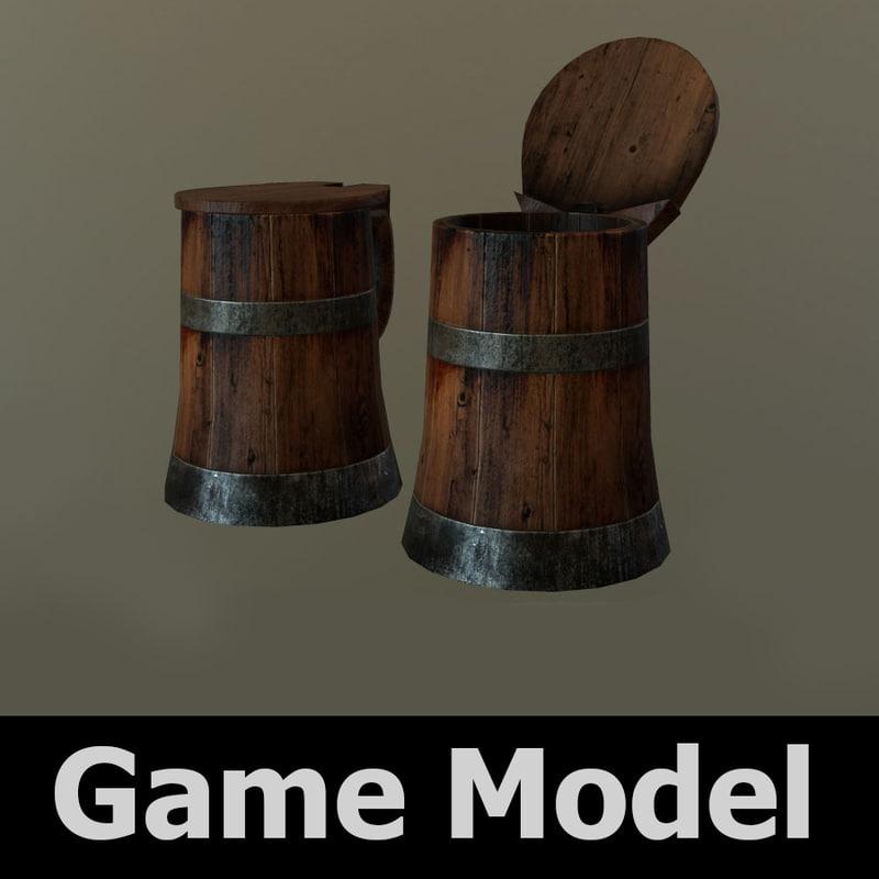 3d old wooden tankard model