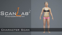 3d model body scan - rigged female