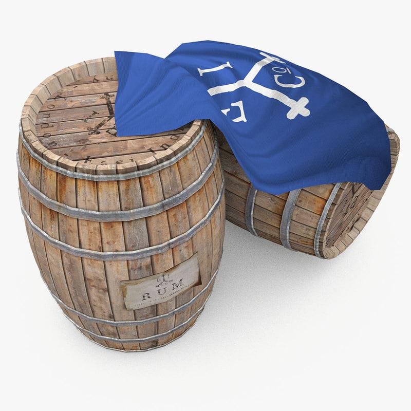 3d wooden barrels rum east model