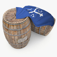 3d wooden barrels rum east model