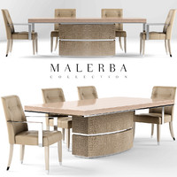 Malerba Dining table with extension  oyster Chair oyster black lacquer