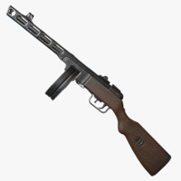 ppsh-41 weapon ready 3d max