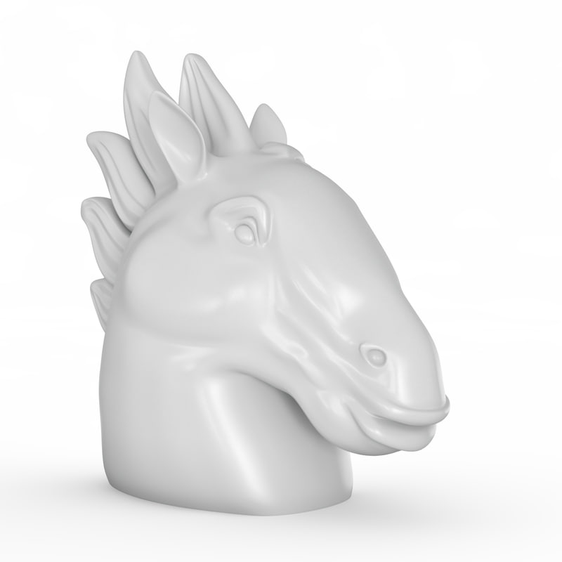 3d model head horse figurine