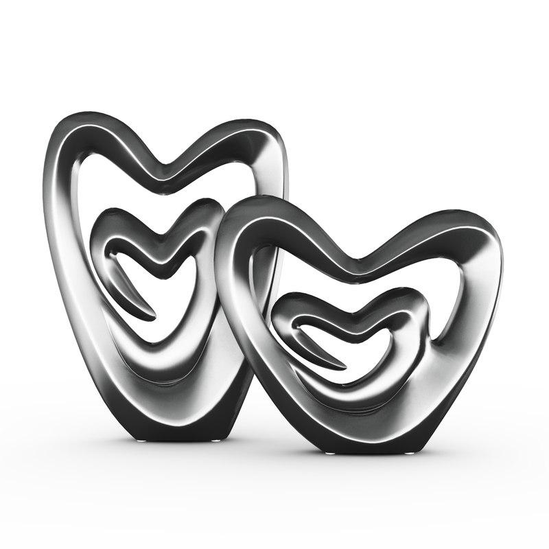 3d hearts figurine