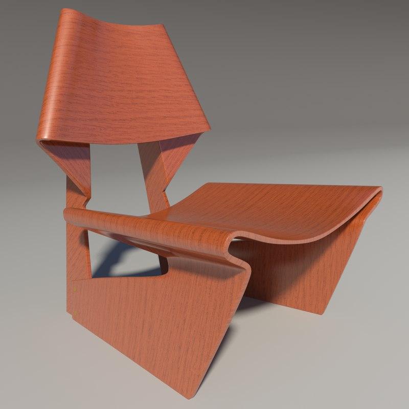 grette jalk wood teak 3d model