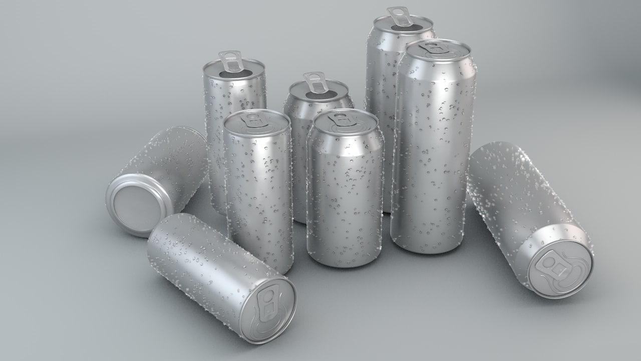 3d beverage cans 3 sizes model