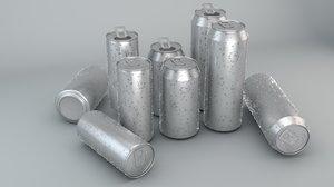 3d beverage cans 3 sizes model