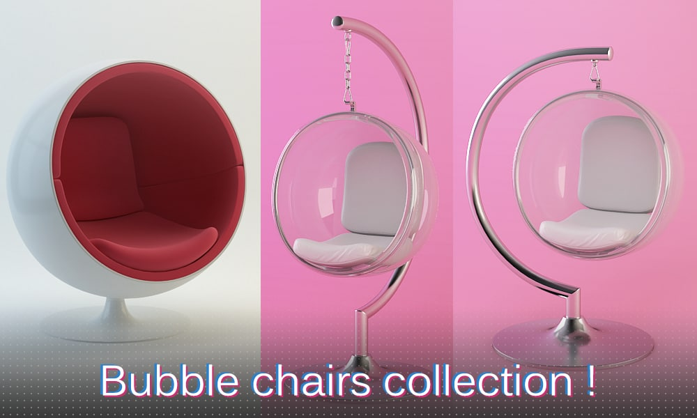 3d model bubble chairs