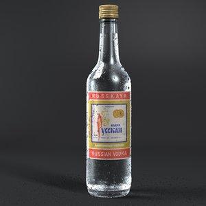 ice russian vodka bottle 3d model