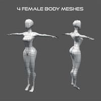 Low Poly Female Body Meshes