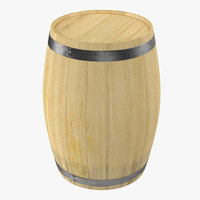 wooden barrel iron rings 3d model