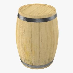 3d wooden barrel iron rings model