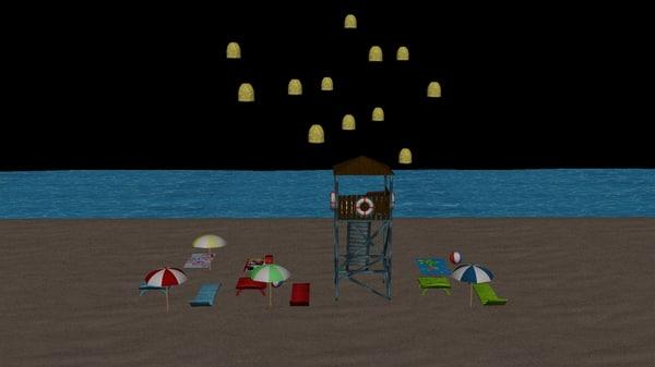 3d model beach package