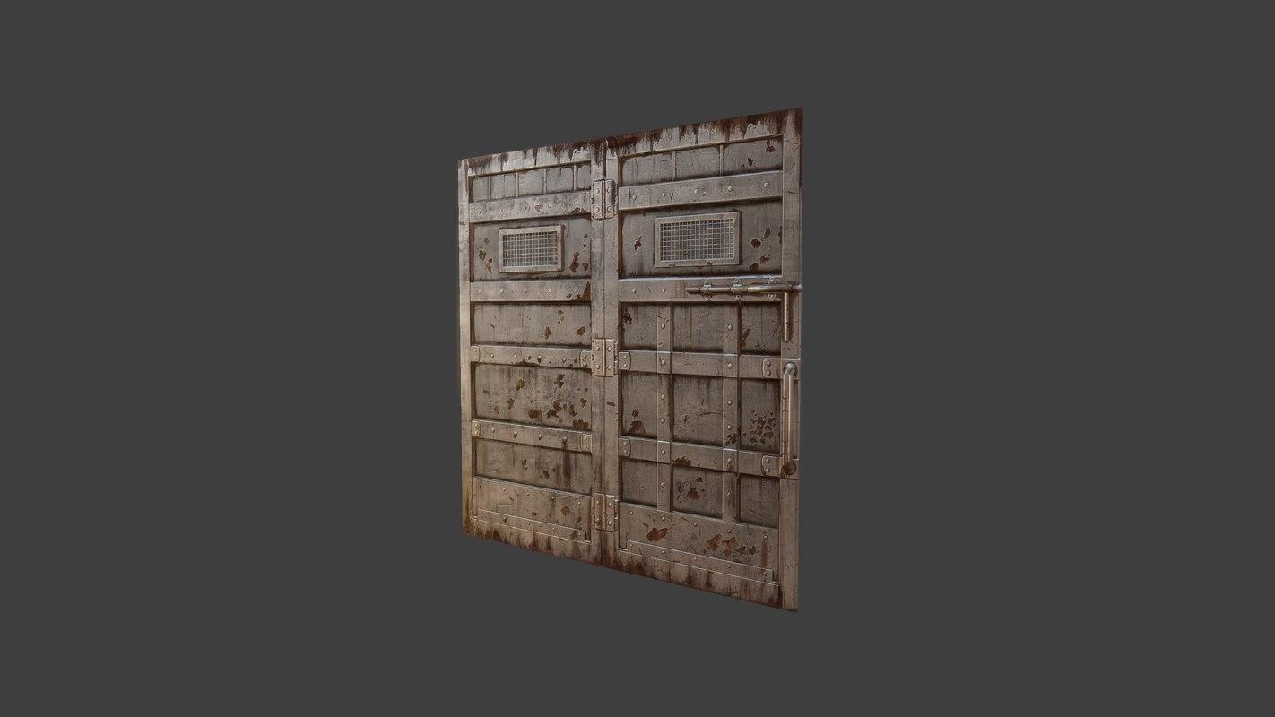 rusty metal doors obj