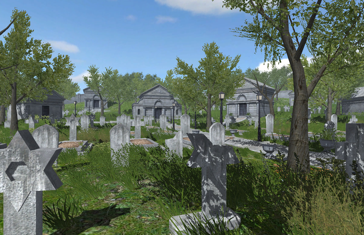 3d ma cemetery plants trees