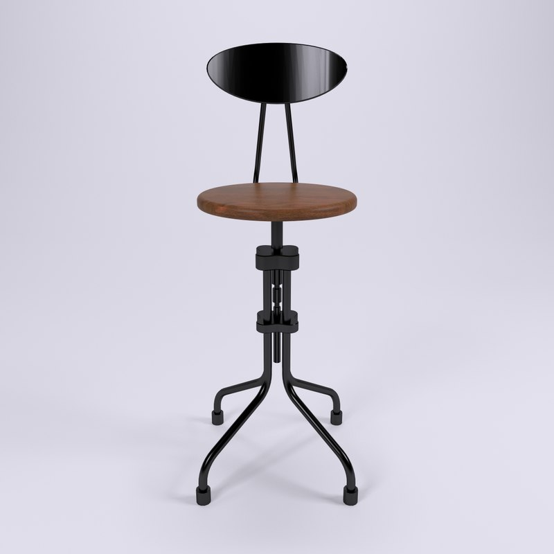brexton industrial stool design 3d model