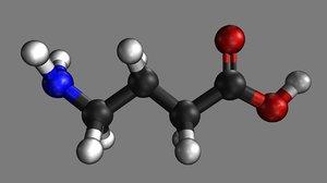 3d butyric acid structural model