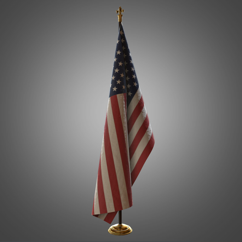 3d indoor flag pole model