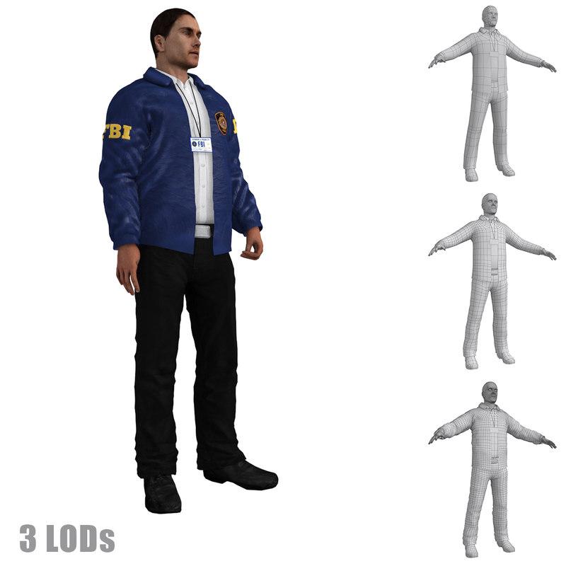 3d max rigged fbi agent s