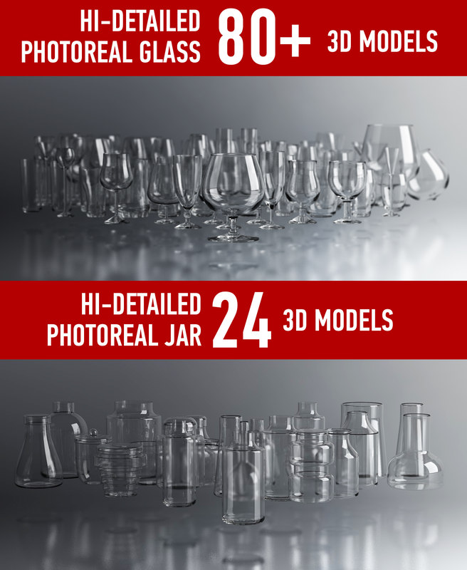 3d photoreal glass