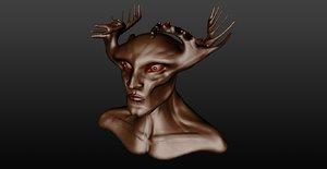 sculpture man deer 3d obj