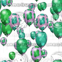 Seamless background of air party balloons decorated with mint pattern