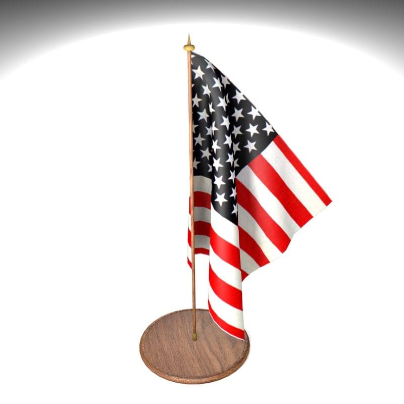 american flag office desk 3d 3ds