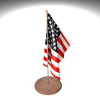 american flag office desk 3d 3ds
