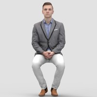 Justin Business Sitting 1 - 3D Human Model