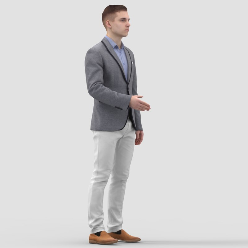 3d model of man standing business