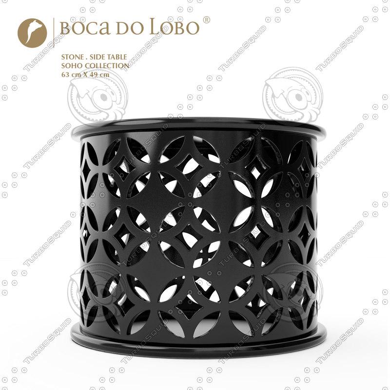 boca lobo stone table 3d model