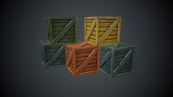 maya painted wooden crate