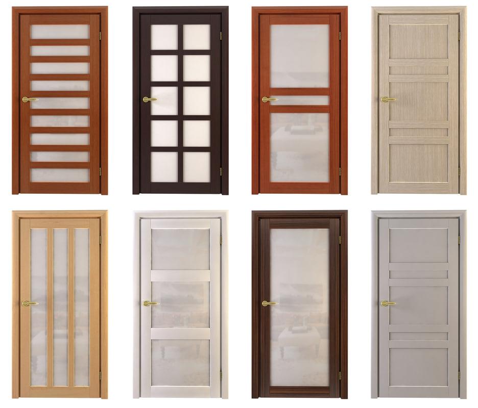 3d model set doors wood