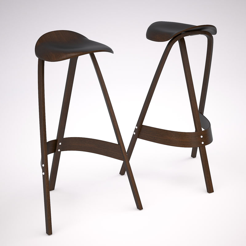 bar stool chair wood 3d max