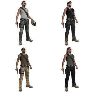 pack rigged guerrilla 3d model