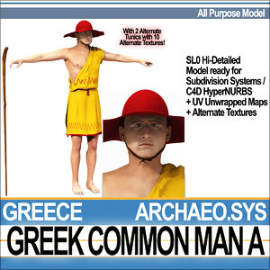 ancient greek common man character 3d 3ds