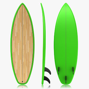 realistic surfboard green 3d max