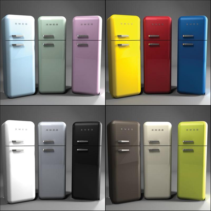 3d model smeg fridge pbr