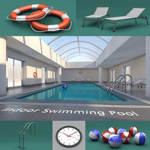 indoor swimming pool 3d c4d