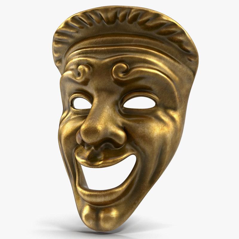 theatre comedy mask 3d max