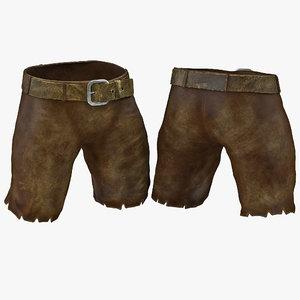 medieval leather shorts 3d c4d