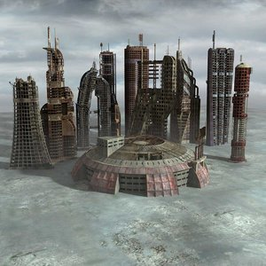 3d postnuclear buildings set ruined