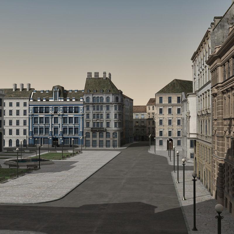 3d town buildings