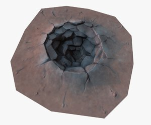 3d cartoon crater model