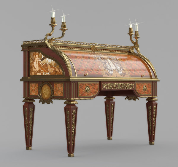 3d model marquetry secretaire