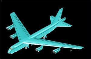 3ds max b-52h aircraft solid assembly