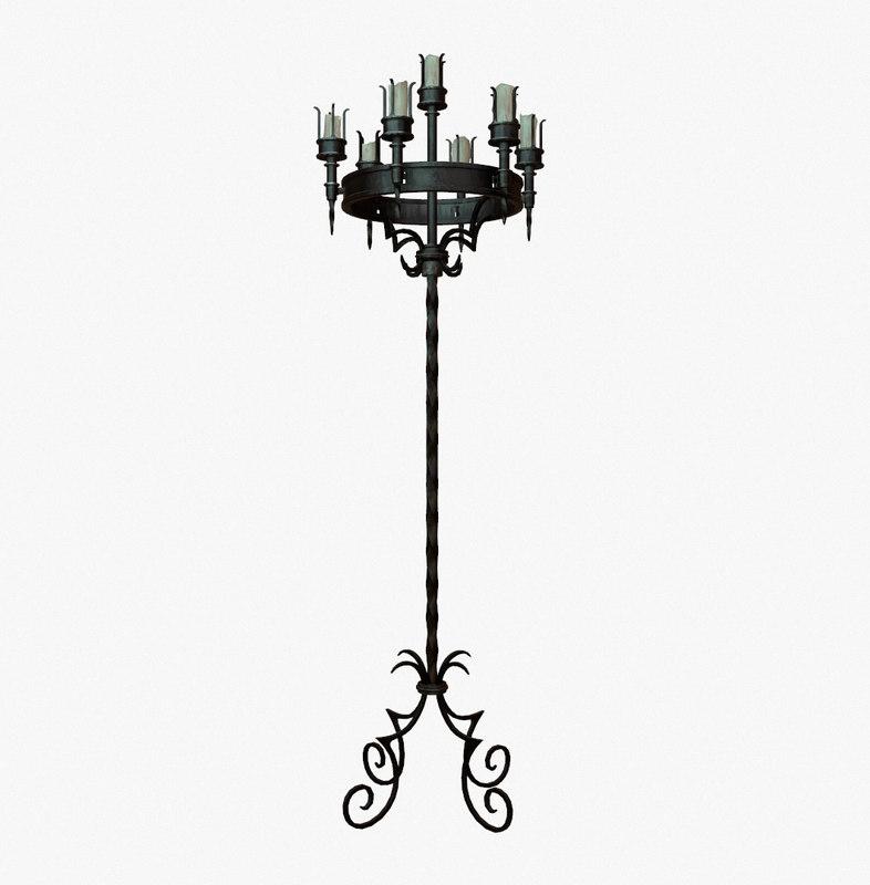 free obj model gothic candelabra