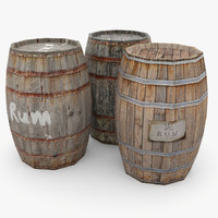 wooden barrels 3d 3ds