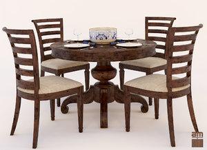 dinner set table chair 3d model