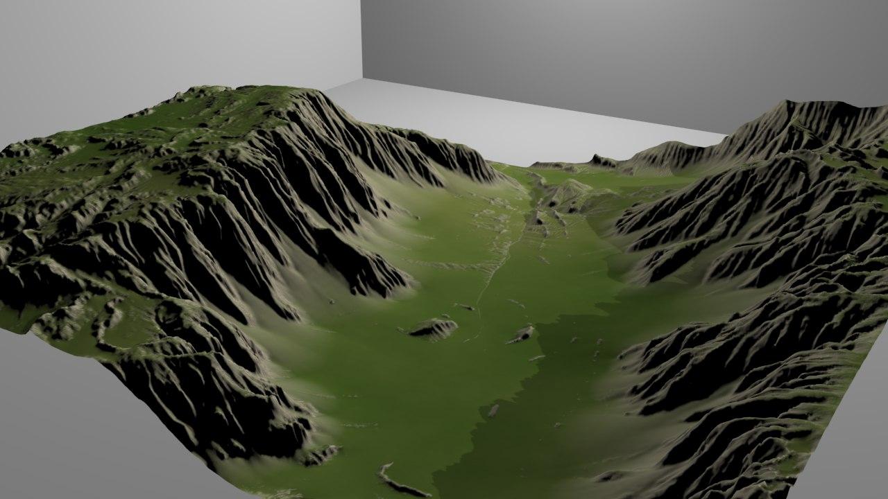 3d valley heightmap model